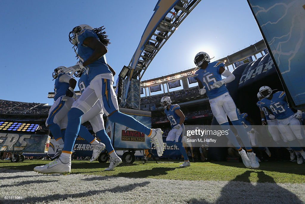 The San Diego Chargers take to the field prior to a game against the Tennessee Titans at Qualcomm Stadium on November 6, 2016 in San Diego, California.