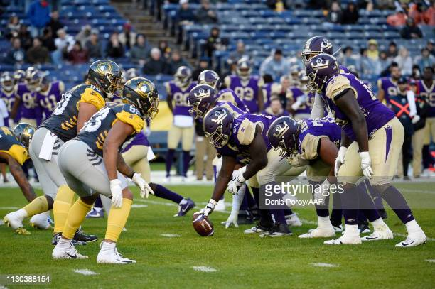 The San Diego Fleet and Atlanta Legends line up for a play in the first quarter during the Alliance of American Football game at SDCCU Stadium on...