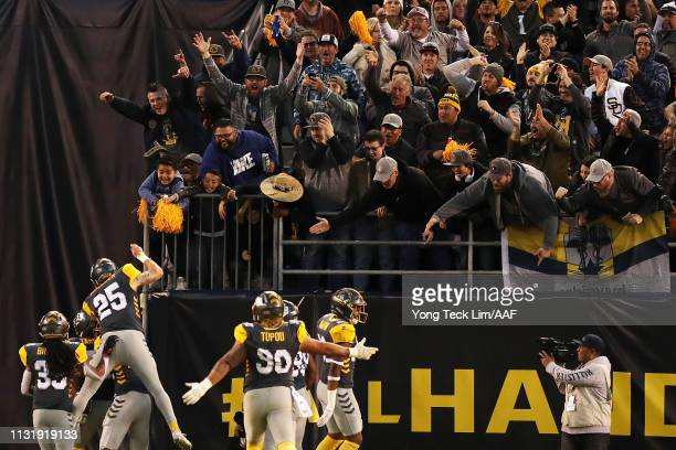 The San Diego Fleet celebrates after scoring a touchdown against the San Antonio Commanders during the first half of an Alliance of American Football...