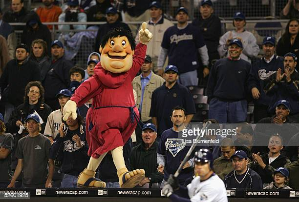 The San Diego Padres mascot cheers with the crowd during the MLB game against the Pittsburgh Pirates on April 7 2005 at Petco Park in San Diego...