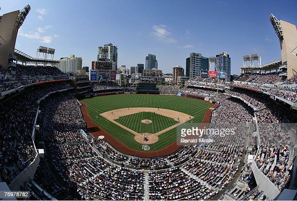 The San Diego Padres play the San Francisco Giants during the bottom of the sixth inning of their MLB game at Petco Park August 5, 2007 in San Diego,...