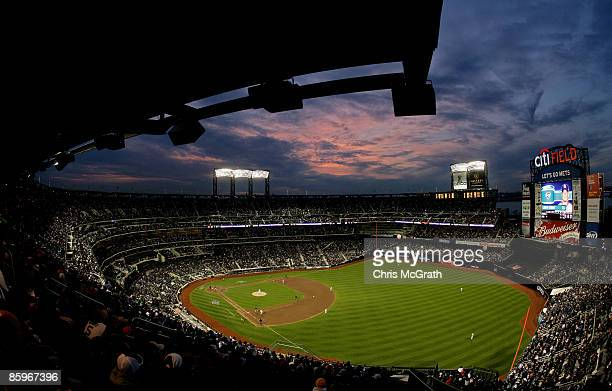 The San Diego Padres take on the New York Mets during opening day at Citi Field on April 13 2009 in the Flushing neighborhood of the Queens borough...