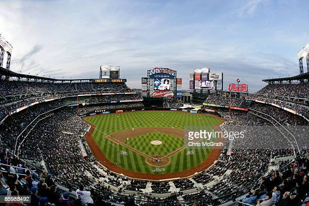 The San Diego Padres take on the New York Mets during opening day at Citi Field on April 13, 2009 in the Flushing neighborhood of the Queens borough...