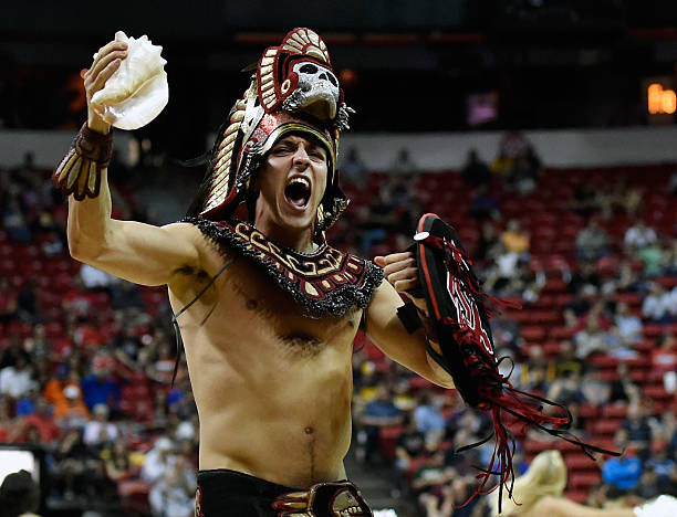 The San Diego State Aztecs mascot Aztec Warrior cheers during a semifinal game of the Mountain West Conference basketball tournament against the...