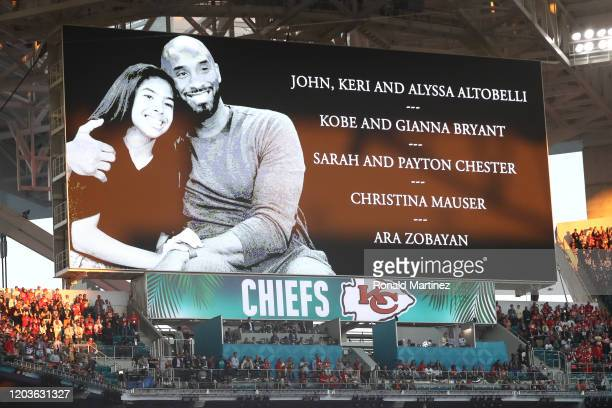 The San Francisco 49ers and the Kansas City Chiefs observe a moment of silence to honor former NBA player Kobe Bryant and his daughter Gianna Bryant...