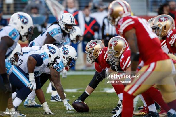 The San Francisco 49ers and the Tennessee Titans line up for a play during the third quarter at Levi's Stadium on December 17 2017 in Santa Clara...