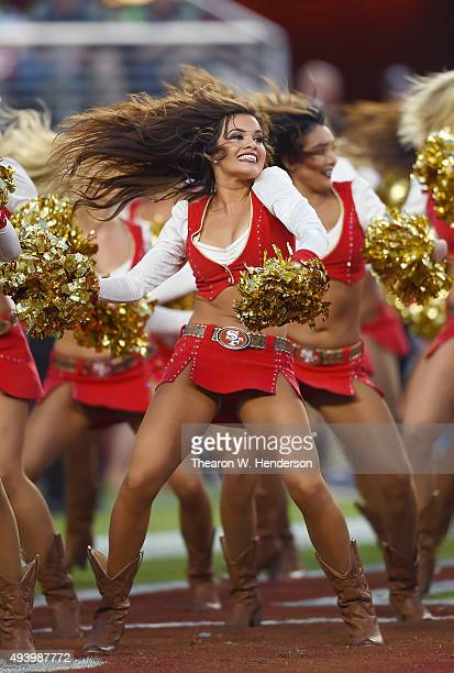 The San Francisco 49ers cheeleaders the 'Gold Rush' performs during an NFL football game between the 49ers and Seattle Seahawks at Levi's Stadium on...