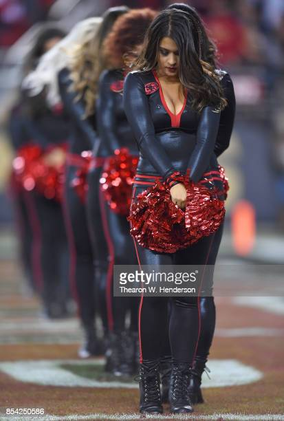The San Francisco 49ers cheeleaders the 'Gold Rush' performs during an NFL football game against the Los Angeles Rams at Levi's Stadium on September...
