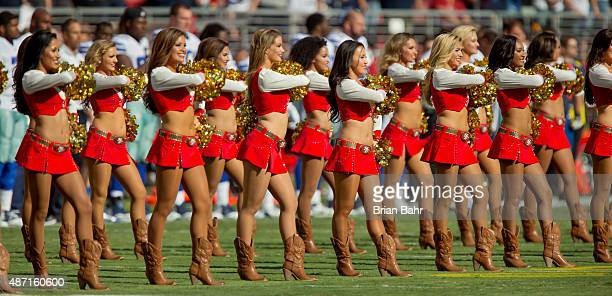 The San Francisco 49ers cheerleaders perform during a preseason game against the Dallas Cowboys on August 23 2015 at Levi's Stadium in Santa Clara...