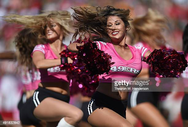 The San Francisco 49ers cheerleaders the 'Gold Rush' performs during an NFL game between the Green Bay Packers and San Francisco 49ers at Levi's...