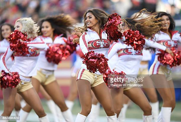The San Francisco 49ers cheerleaders the 'Gold Rush' performs during an NFL football game between the Seattle Seahawks and San Francisco 49ers at...