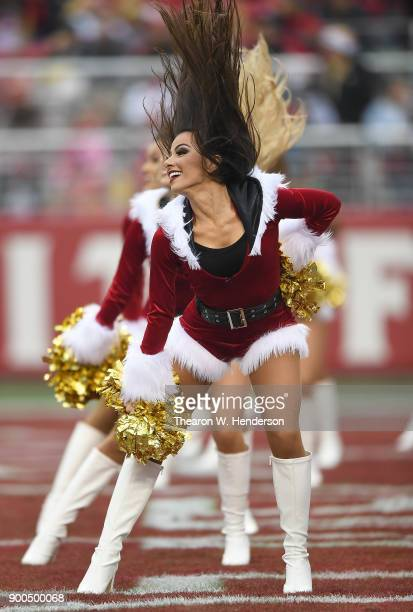 The San Francisco 49ers cheerleaders the 'Gold Rush' performs during an NFL football game against the Jacksonville Jaguars at Levi's Stadium on...