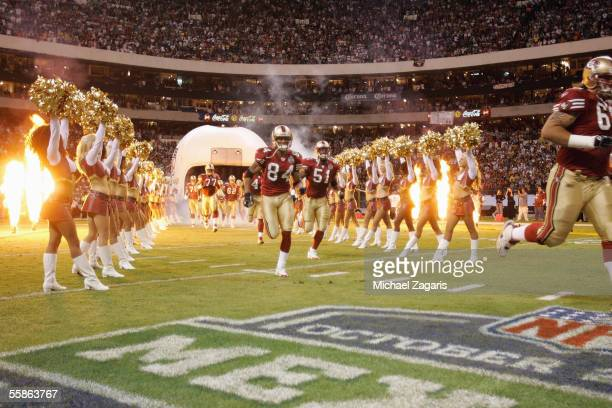 The San Francisco 49ers enter the field before the game against the Arizona Cardinals at Estadio Azteca on October 2 2005 in Mexico City Mexico