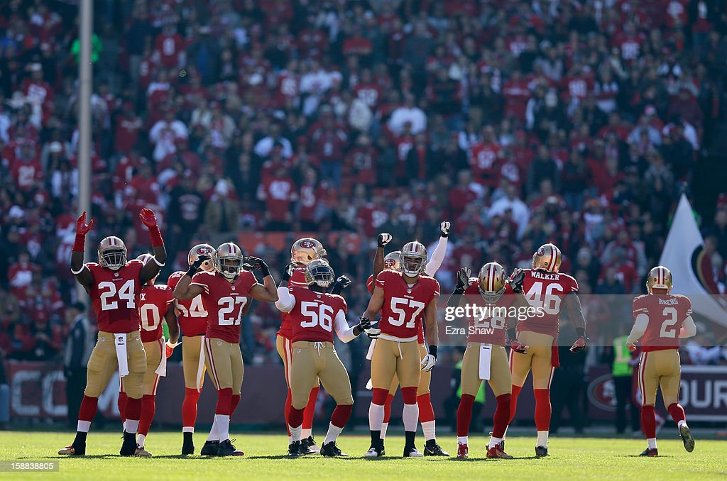 The San Francisco 49ers get ready for the opeing kickoff against the Arizona Cardinals at Candlestick Park on December 30, 2012 in San Francisco, California.