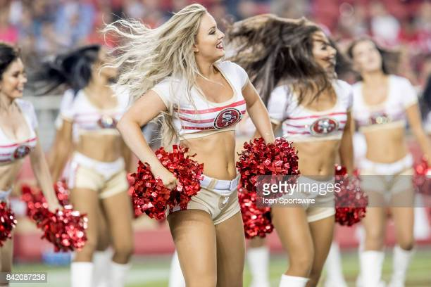 The San Francisco 49ers Gold Rush Cheerleaders perform during a preseason NFL game between the Los Angeles Chargers and San Francisco 49ers on August...
