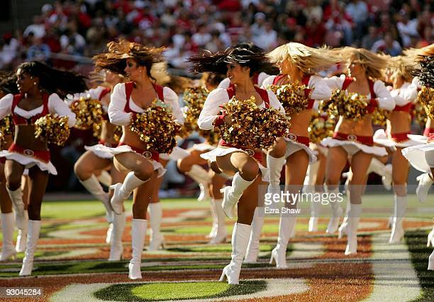 The San Francisco 49ers Gold Rush cheerleaders perform during their game against the Tennessee Titans at Candlestick Park on November 8 2009 in San...