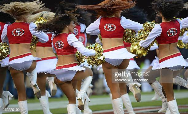 The San Francisco 49ers 'Gold Rush' Cheerleaders performs against the Detroit Lions at Candlestick Park on September 16 2012 in San Francisco...