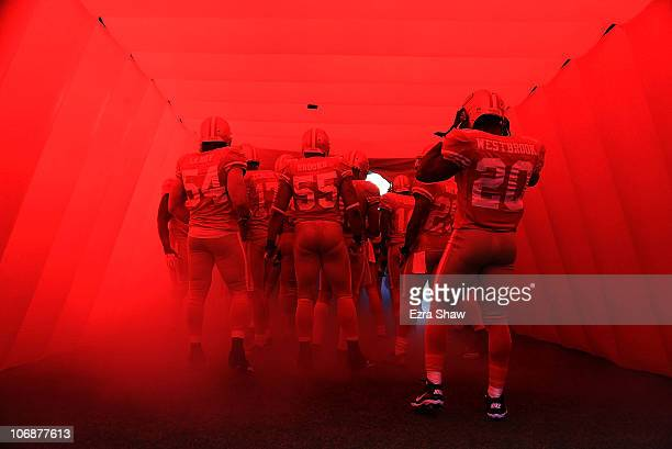 The San Francisco 49ers including Brian Westbrook enter the field for their game against the St Louis Rams at Candlestick Park on November 14 2010 in...