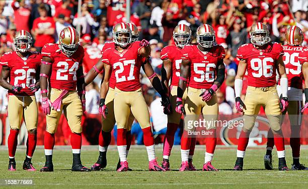 The San Francisco 49ers line up for a kickoff against the Buffalo Bills on October 7 2012 at Candlestick Park in San Francisco California The 49ers...