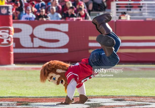 The San Francisco 49ers mascot does some break dancing before the game between the Tennessee Titans verses the San Francisco 49ers on Sunday December...