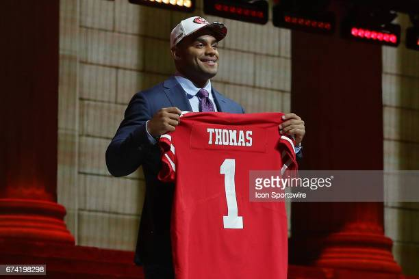 The San Francisco 49ers select Solomon Thomas of Stanford with the third pick at the 2017 NFL Draft and poses with jersey at the 2017 NFL Draft...