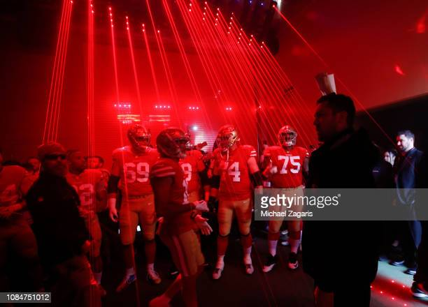The San Francisco 49ers wait in the tunnel to take the field prior to the game against the Seattle Seahawks at Levi's Stadium on December 16, 2018 in...