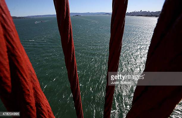 The San Francisco Bay is seen from the pedestrian walkway on the Golden Gate Bridge on March 12 2014 in San Francisco California A long debated...