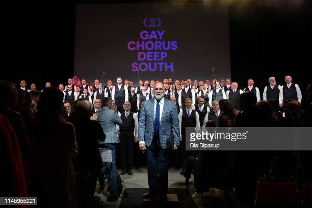 "The San Francisco Gay Men's Chorus performs at the ""Gay Chorus Deep South"" screening during the 2019 Tribeca Film Festival at Spring Studios on April..."