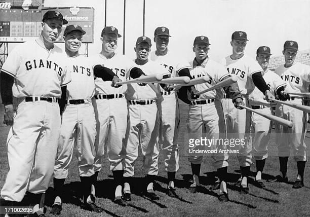 The San Francisco Giants baseball team starting lineup for the 1961 season opener LR Sam Jones Felipe Alou Harvey Kuenn Willie Mays Willie McCovey...