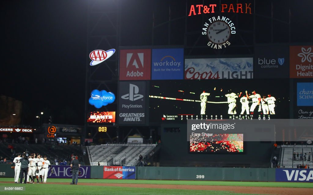 The San Francisco Giants beat the Los Angeles Dodgers 8-6 at AT&T Park on September 11, 2017 in San Francisco, California. The game finished at 2:10am after a long rain delay.