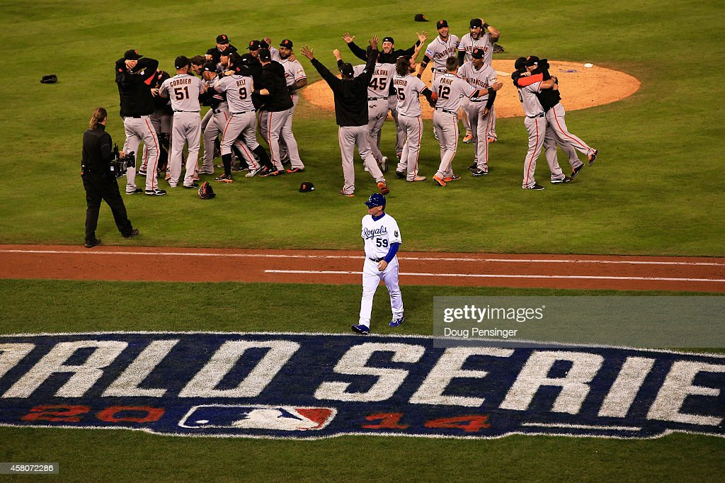 The San Francisco Giants celebrate after defeating the Kansas City Royals to win Game Seven of the 2014 World Series by a score of 3-2 at Kauffman Stadium on October 29, 2014 in Kansas City, Missouri.