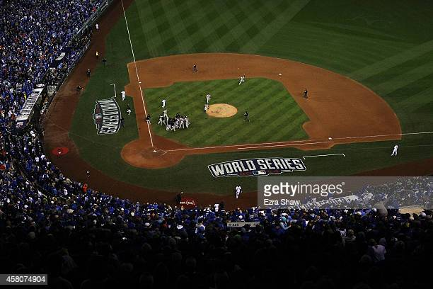The San Francisco Giants celebrate after defeating the Kansas City Royals to win Game Seven of the 2014 World Series by a score of 32 at Kauffman...