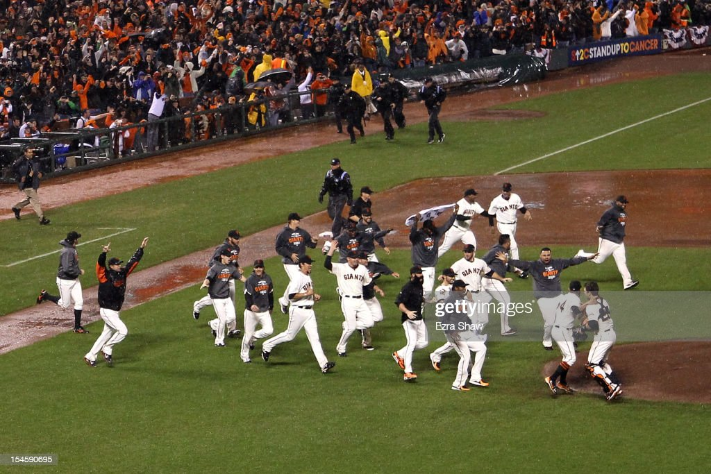 The San Francisco Giants celebrate after the Giants defeat the St. Louis Cardinals 9-0 in Game Seven of the National League Championship Series at AT&T Park on October 22, 2012 in San Francisco, California.