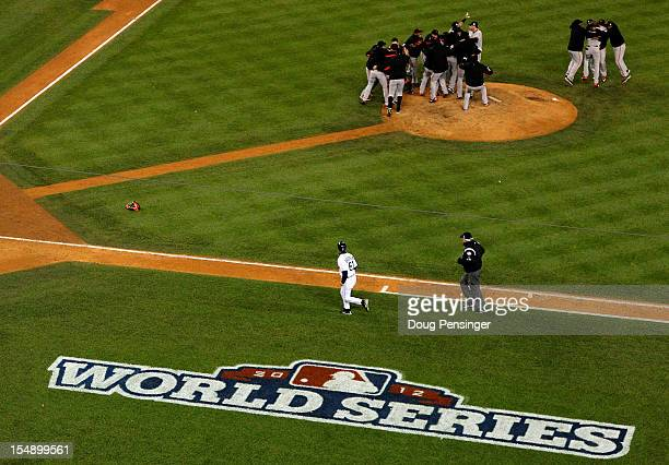 The San Francisco Giants celebrate defeating the Detroit Tigers in the tenth inning to win Game Four of the Major League Baseball World Series at...
