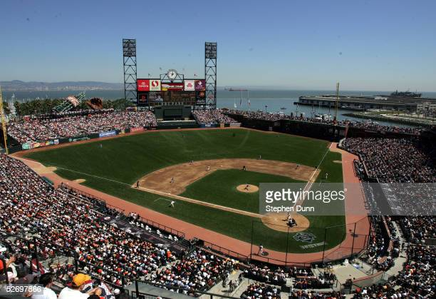 The San Francisco Giants host the Los Angeles Dodgers at SBC Park on April 5 2005 in San Francisco California The Giants won 42