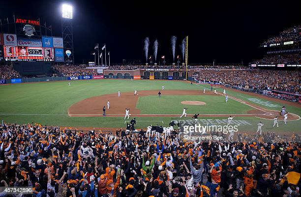 The San Francisco Giants' Travis Ishikawa hits a threerun home run to win Game 5 of the National League Championship Series against the St Louis...
