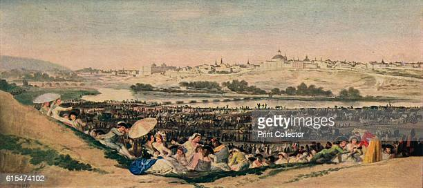 The San Isidro Meadow' 1788 The sensations of life and hustle and bustle of crowds sitting in a meadow with landscape opening onto the Manzanares...