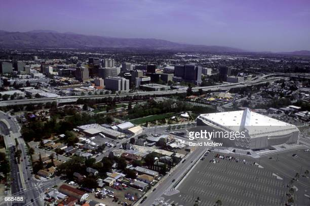 The San Jose Arena is home to the NHL's San Jose Sharks April 2000 in San Jose CA San Jose is experiencing a boom due to the large number of hightech...