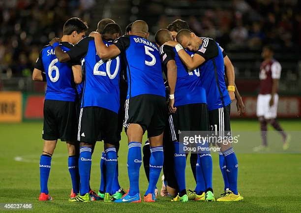 The San Jose Earthquakes huddle before facing the Colorado Rapids at Dick's Sporting Goods Park on September 27 2014 in Commerce City Colorado The...