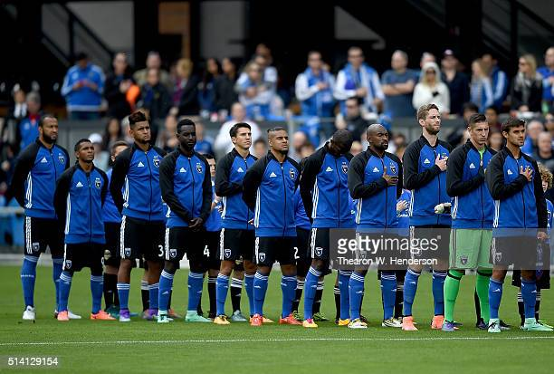 The San Jose Earthquakes stands for the National Anthem prior to playing an MLS Soccer Game against the Colorado Rapids at Avaya Stadium on March 6...