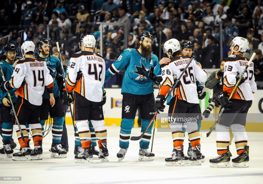 NHL: APR 18 Stanley Cup Playoffs First Round Game 4 - Ducks at Sharks : News Photo