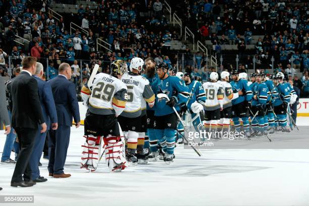 The San Jose Sharks and the Vegas Golden Knights shake hands after the the Golden Knights defeat the Sharks 30 and advance to the Western Final in...