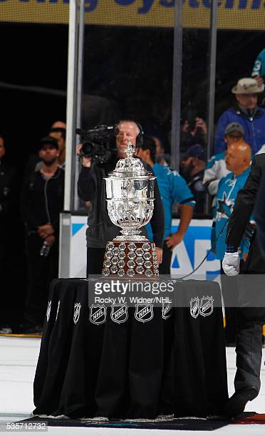 The San Jose Sharks are presented with the Clarence S Campbell Bowl after defeating the St Louis Blues in Game Six of the Western Conference Finals...