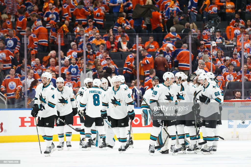 The San Jose Sharks celebrate a 3-2 overtime victory against the Edmonton Oilers in Game One of the Western Conference First Round during the 2017 NHL Stanley Cup Playoffs at Rogers Place on April 12, 2017 in Edmonton, Alberta, Canada.
