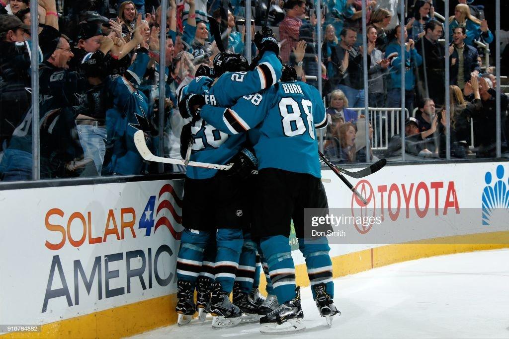 The San Jose Sharks celebrate a goal by Joakim Ryan #47 against the Edmonton Oilers at SAP Center on February 10, 2018 in San Jose, California.