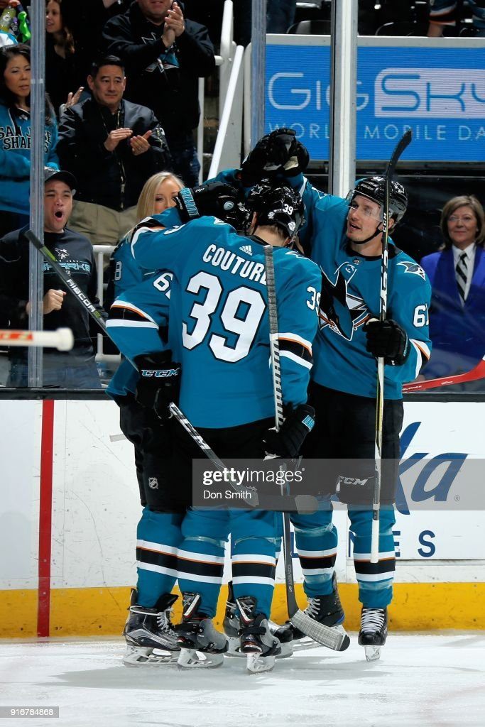 The San Jose Sharks celebrate a third period goal by Tomas Hertl #48 against the Edmonton Oilers at SAP Center on February 10, 2018 in San Jose, California.