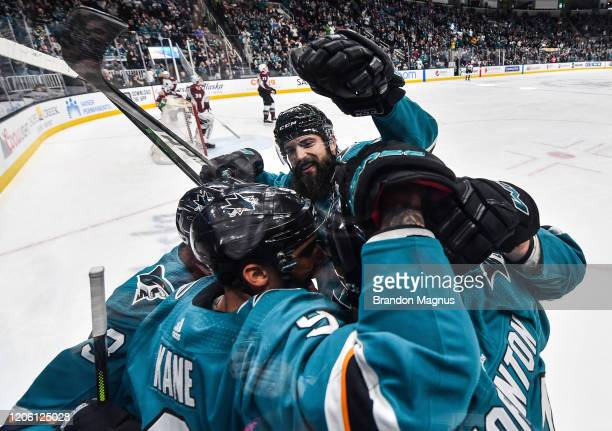 The San Jose Sharks celebrate after coring against the Colorado Avalanche at SAP Center on March 8, 2020 in San Jose, California.