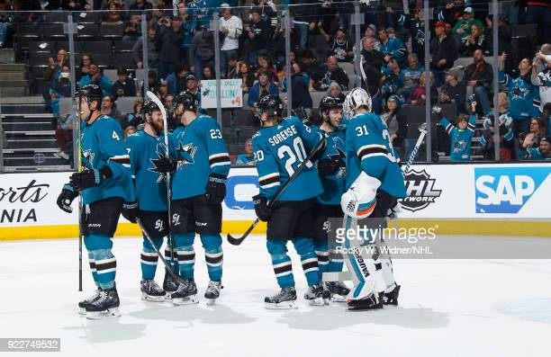 The San Jose Sharks celebrate after defeating the Dallas Stars at SAP Center on February 18 2018 in San Jose California