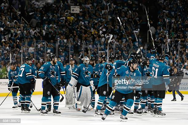The San Jose Sharks celebrate after defeating the Pittsburgh Penguins in overtime of Game Three of the 2016 NHL Stanley Cup Final with a score of 3...
