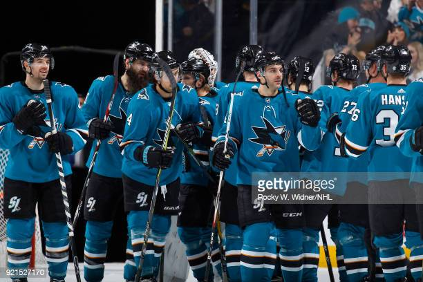 The San Jose Sharks celebrate after defeating the Vancouver Canucks at SAP Center on February 15 2018 in San Jose California